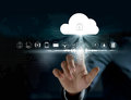 Cloud computing, futuristic display technology connectivity Royalty Free Stock Photo