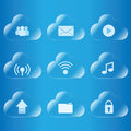 Cloud computing icon glass set Royalty Free Stock Images