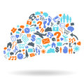 Cloud computing icon set shape of business icons vector easy to change colors Stock Image