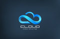 Cloud computing icon vector logo design template. Royalty Free Stock Photo