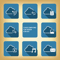 Cloud computing icons in modern flat design on blue background Royalty Free Stock Photos