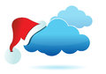 Cloud computing illustration with a christmas hat Stock Photography