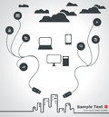 Cloud computing illustration great for web print or applications Stock Photo