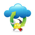 Cloud computing issues under construction sign illustration design over white Stock Images