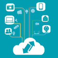 Cloud computing and its functions a white related with a lot of icons representing Stock Photography