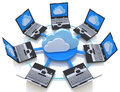 Cloud computing and laptop computers in the design of information related to internet Stock Photography