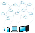 Cloud computing made from water network sharing between multiple devices clouds are with effect as well the network all the Royalty Free Stock Image