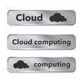 Cloud computing metallic web elements buttons vector illustration Royalty Free Stock Photo