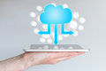 Cloud computing and mobile computing for smart phones and tablets. Royalty Free Stock Photo
