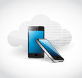 Cloud computing mobile phone access illustration design over white Royalty Free Stock Image