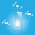 Cloud computing mobile security glass Stock Photo