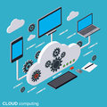 Cloud computing, network, data processing vector concept