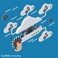Cloud computing, network, data processing vector concept