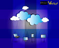 Cloud computing network on texture background vector illustration of a with beautify clouds vibrant blue shades Royalty Free Stock Photography