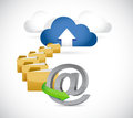 Cloud computing online storage over a white background Stock Image