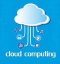 Cloud computing over blue background vector illustration Royalty Free Stock Photography