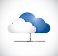 Cloud computing pipe network illustration design over white Royalty Free Stock Photos