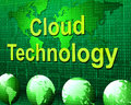 Cloud computing represents information technology and communication indicating networking Stock Photography