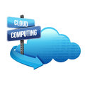 Cloud computing road sign illustration design Royalty Free Stock Photo