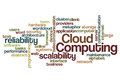 Cloud computing scalability reliability background concept word Stock Images