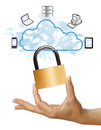 Cloud computing security hand holding padlock concept on white background Stock Photos