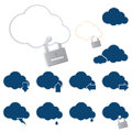 Cloud computing with security icons lock Royalty Free Stock Photo