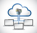 Cloud computing servers connected to laptops illustration design over white Stock Photos