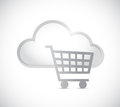 Cloud computing and shopping cart illustration design over a white background Stock Image