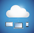 Cloud computing storage connected to electronics illustration design Stock Image