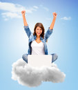 Cloud computing successful woman using with her laptop Stock Photography