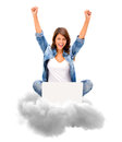 Cloud computing successful woman using with her laptop isolated Royalty Free Stock Photos