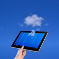 Cloud computing technology concept hand holding tablet on white background Stock Image