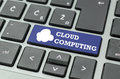 Cloud computing text and icon on a computer key Royalty Free Stock Photo