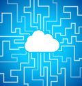 Cloud computing theme blue background Royalty Free Stock Photo