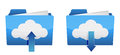 Cloud computing upload and download icons Stock Photos