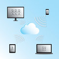 Cloud computing vector illustration concept with desktop computer laptop tablet and cellphone Stock Photo