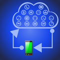 Cloud computing which showing how is working such technology iilustration of smart phone and internet server as Stock Photography