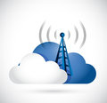 Cloud computing and wifi connection tower illustration design over white Royalty Free Stock Images