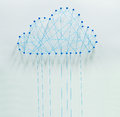 Cloud computing wired made out of threads and pins Stock Photo