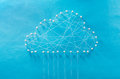 Cloud computing wired made out of threads and pins Royalty Free Stock Photos