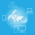 Cloud computing worldwide via desktop laptop mobile and network Stock Image
