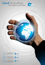 Cloud concept infographics with a real hand and glowing globe on europe side Royalty Free Stock Image