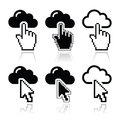 Cloud with cursor hand and arrow icons set symbol different pointers isolated on white Stock Images