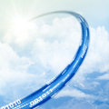 Cloud data base concept ethernet lan cable reaching with sun shining in the sky Royalty Free Stock Photo
