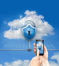 Cloud data security and phone security Royalty Free Stock Photo