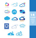 Cloud data storage logo icon set Royalty Free Stock Photo