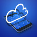 Cloud devices concept in the mobile phone Stock Photo
