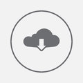 Cloud download icon vector, solid illustration, pictogram isolated on gray.