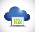 Cloud and email laptop illustration design over a white background Royalty Free Stock Photos