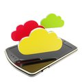 Cloud emblems over pad mobile phone concept isolated computing technology glossy on white background Stock Photography
